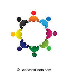 カラフルである, 概念, 共同体, 遊び, 友情, 従業員, ベクトル, 子供, &, 共用体, 多様性, 表す, 共有, icons(signs)., 子供, 労働者, 抽象的, イラスト, graphic-, グループ, のように, 概念, ∥など∥