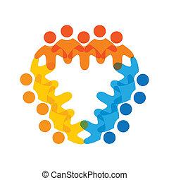カラフルである, 概念, 共同体, 遊び, 友情, 従業員, 企業である, ベクトル, 子供, &, 従業員, 共用体, 多様性, チーム, 表す, 共有, icons(signs)., 労働者, イラスト, graphic-, のように, 概念, ∥など∥