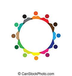 カラフルである, 概念, 共同体, 遊び, 友情, 従業員, 会社, ベクトル, 子供, &, 従業員, ミーティング, 共用体, 多様性, 表す, 共有, icons(signs)., 労働者, イラスト, graphic-, のように, 概念, ∥など∥