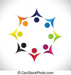 カラフルである, 概念, 共同体, 遊び, 合併した, 友情, 従業員, うれしい, ショー, ベクトル, 子供, &, 共用体, 多様性, icons(signs)., 共有, 子供, 労働者, 抽象的, イラスト, graphic-, のように, 概念, ∥など∥