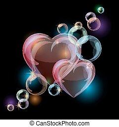 カラフルである, 泡, 黒い背景, 心, ロマンチック, 形, バックグラウンド。