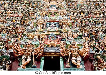 カラフルである, 神, レリーフ像, ヒンズー教の寺院, meenakshi
