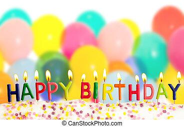カラフルである, 蝋燭, 火をつけられた, birthday, 背景, 風船, 幸せ