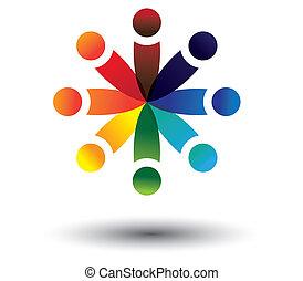 カラフルである, 遊び, ベクトル, 円, 概念, 子供, 学校