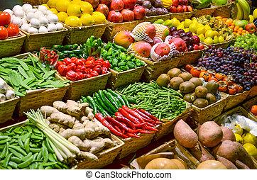 カラフルである, 野菜, フルーツ, 様々, 成果, 新たに, 市場