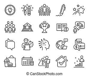 カレンダー, 人々, グループ, set., アイコン, ベクトル, アイコン, signs., included, 教育, 弁護士