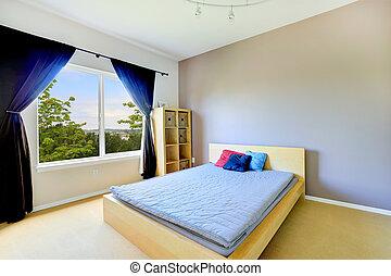 カーテン, クラシック, 紫色, ベッド, 明るい, 寝室, 内部