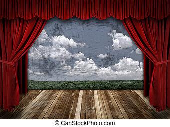 カーテン, ビロード, 劇的, 劇場, 赤, ステージ