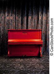 カーテン, 劇場, 型, 上に, ナイトクラブ, ornated, 花, 内部, 背景, 暗い, ピアノ, ∥あるいは∥, 赤