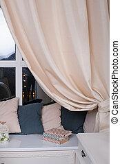 カーテン, 本, 枕, 窓台, 部屋