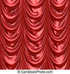 カーテン, 赤, ひだのある布
