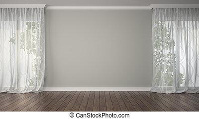 カーテン, 部屋, 空, 2