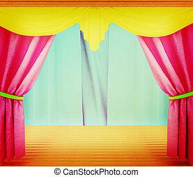 カーテン, illustration., 床, 木製である, 型, 現場, colorfull, style., 3d