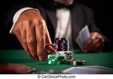 カード, カジノ, プレーヤー, チップ, ギャンブル
