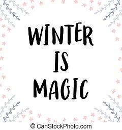 カード, カード, 旗, 手書き, カリグラフィー, ∥あるいは∥, デザイン, クリスマスの 休日, 手, 引かれる, 冬, ポスター, elements., magic., 挨拶