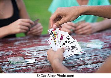 カード, グループ, 遊び, 人々