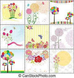 カード, セット, 挨拶, カラフルである, 花