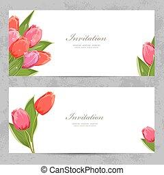 カード, チューリップ, デザイン, あなたの, 招待