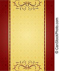 カード, デザイン, 背景, 金, 招待