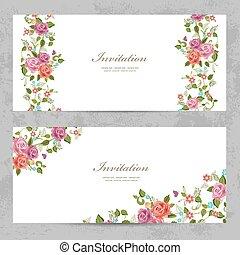 カード, バラ, デザイン, あなたの, 招待