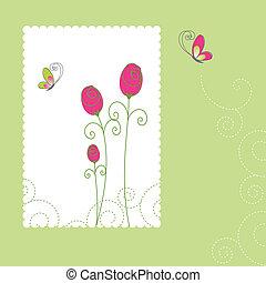 カード, 夏, 花, 挨拶, 春