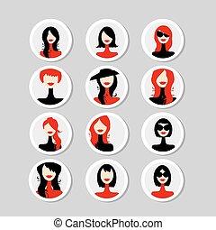 カード, 女, デザイン, あなたの, 顔