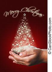 カード, 手, クリスマス, 赤, 子供