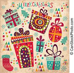 カード, 箱, クリスマスの ギフト