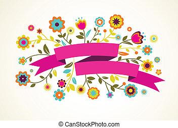 カード, 花, ベクトル, 挨拶, リボン