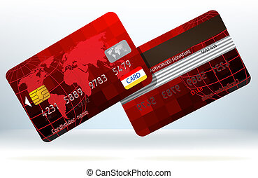 カード, eps, 背中, クレジット, 前部, 8, ビュー。