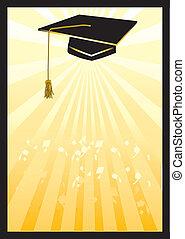 カード, spotlight., 卒業, 黄色, モルタル
