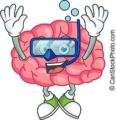 ガラス, デザイン, ダイビング, マスコット, 脳, 身に着けていること, 概念