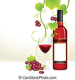 ガラス, ブドウ, びん, ワイン