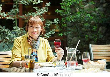 ガラス, ポジティブ, 女, 成長した, ワイン