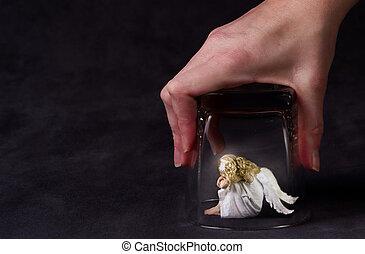 ガラス, 下に, 天使, 捕えられた