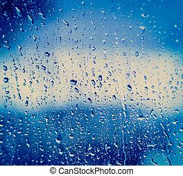 ガラス, 低下, 雨, 後で