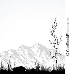 ガラス, 木。, 山, 風景
