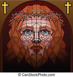 ガラス, 汚された, 絵, キリスト, イエス・キリスト