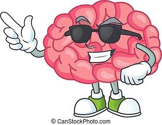 ガラス, 身に着けていること, 脳, 漫画, 黒, かわいい, 極度, 特徴