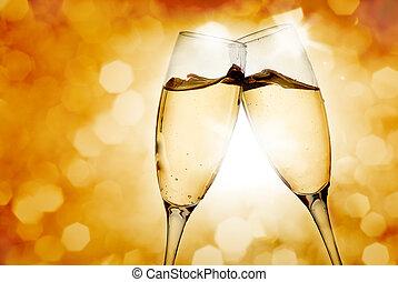 ガラス, 2, シャンペン, 優雅である
