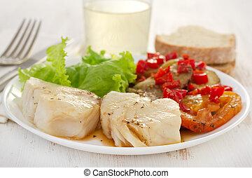 ガラス, fish, 沸かされる, 野菜, ワイン