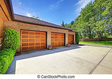 ガレージ, 木, 3, ドア, 贅沢