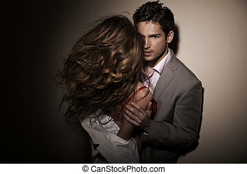 ガールフレンド, 人, 彼の, sensual, ハンサム