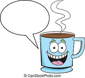 キャプション, コーヒー, balloon, カップ