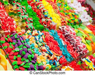 キャンデー, ディスプレイ, ゼリー, カラフルである, 甘いもの