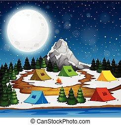 キャンプ場, 夜