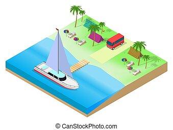 キャンプ, 浜, ベクトル, 等大, トロピカル