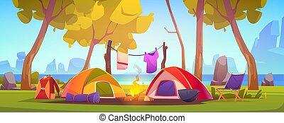 キャンプ, 湖, キャンプファイヤー, 夏, テント