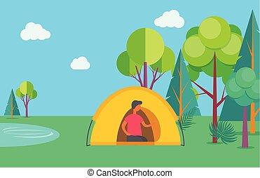 キャンプ, 自然, 湖, 木, 人, テント