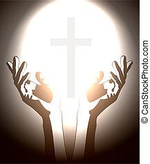 キリスト教徒, シルエット, 交差点, 手